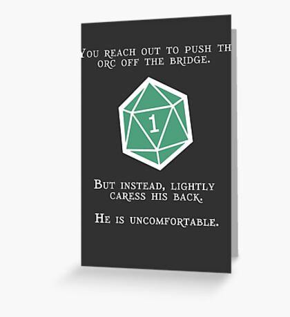 Natural 1 - Orc (White) Greeting Card