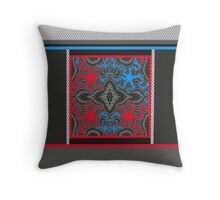 Designer prints, RED, WHITE, black and blue GIFTS and DECOR Throw Pillow