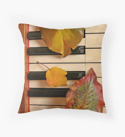 Autumn Leaf Trio on Piano Throw Pillow