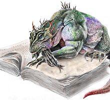 Bookish Lizard by Charles  Burggraf
