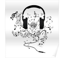 Headphones and music notes Poster