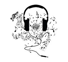 Headphones and music notes Photographic Print