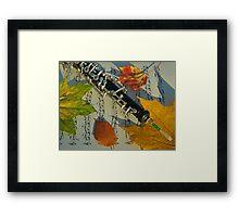 Sunlit Oboe and Sheet Music in Autumn Framed Print