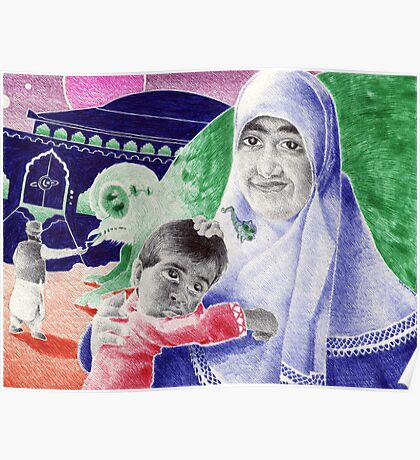 Bic Ball Point Pen Drawing: Compassion on a Pakistani Galactic Scale Poster