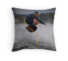 Jumping the wake Throw Pillow