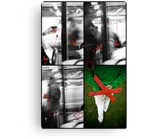 Displacement of a red cross in space Canvas Print