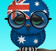 Nerdy Australian Baby Owl on a Branch by Jeff Bartels
