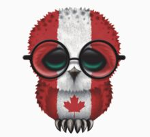 Nerdy Canadian Baby Owl on a Branch Kids Clothes