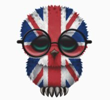 Nerdy British Baby Owl on a Branch Kids Clothes