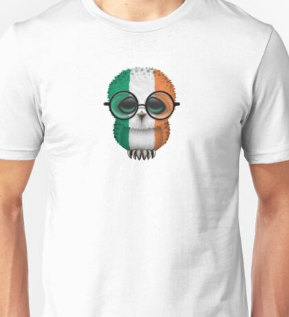 Nerdy Irish Baby Owl on a Branch Unisex T-Shirt