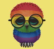 Nerdy Gay Pride Rainbow Baby Owl on a Branch One Piece - Short Sleeve