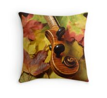 Maple Violin Scroll on Maple Leaves Throw Pillow