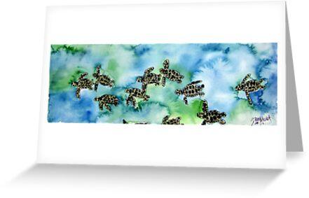 Baby Sea Turtles Painting by derekmccrea