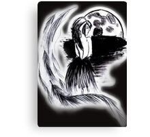 Moon and Feathers Canvas Print