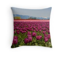 Tulips and Mountains Throw Pillow