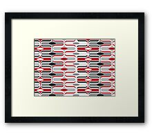 Retro Curves Red and Black Pattern Framed Print