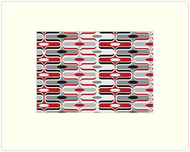 Retro Curves Red and Black Pattern by fatfatin
