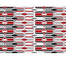 Retro Curves Red and Black Pattern Photographic Print