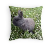 Bunny in Sweet Heaven Throw Pillow
