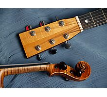 Guitar & Violin Harmony on Blue Photographic Print
