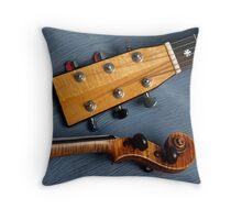 Guitar & Violin Harmony on Blue Throw Pillow