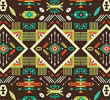 Navajo seamless colorful tribal pattern by tomuato