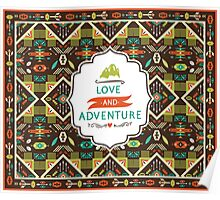 Navajo seamless colorful tribal pattern Poster