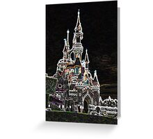 disneyland paris neon castle Greeting Card