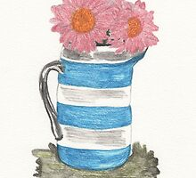 gerberas in milk jug. by KBlackmore