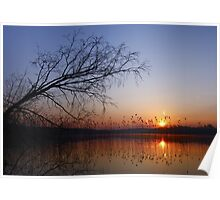 Colorful sunset over water Poster