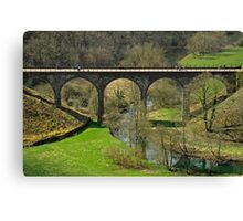 Cyclists on the Headstone Viaduct Canvas Print