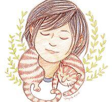 Sleeping Marmalade Tabby by Cynthia Arre