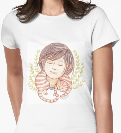 Sleeping Marmalade Tabby Womens Fitted T-Shirt
