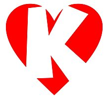I love K - Heart K - Heart with letter K Photographic Print