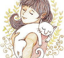 Sleeping White Cat by Cynthia Arre