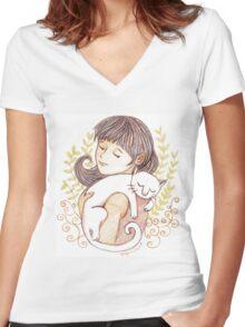 Sleeping White Cat Women's Fitted V-Neck T-Shirt