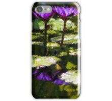 Waterlilies - Sunny Green and Purple Impressions iPhone Case/Skin