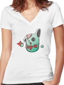 ZOMBIE wabbit Women's Fitted V-Neck T-Shirt
