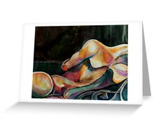 Abstract Nude at Night (Mixed Media)- Greeting Card