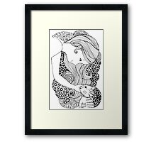 Sweet Girl and Cat Doodle Framed Print
