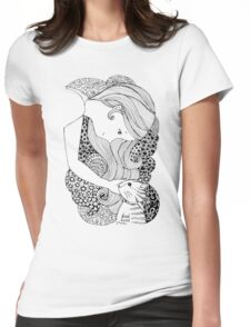 Sweet Girl and Cat Doodle Womens Fitted T-Shirt