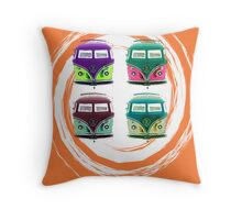 Pop Kombi Orange Print Throw Pillow