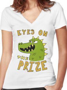 Eyes on the prize dinosaur Women's Fitted V-Neck T-Shirt