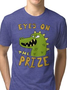Eyes on the prize dinosaur Tri-blend T-Shirt
