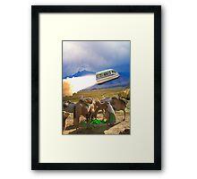 Balochistan Hover Van blasts off past the Vilo Snail Robocamel Caravan Framed Print