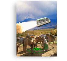 Balochistan Hover Van blasts off past the Vilo Snail Robocamel Caravan Canvas Print