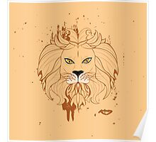 Stylized Lion Head 3 Poster
