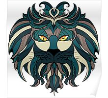Stylized Lion Head 4 Poster