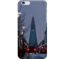 View towards Hallsgrimkirkja, Reykjavik, Iceland. iPhone Case/Skin
