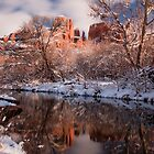 Sedona, Az - Snowy Cathedral Rock by Candy Gemmill